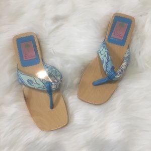Lilly Pulitzer Women Flip Flops wooden vintage